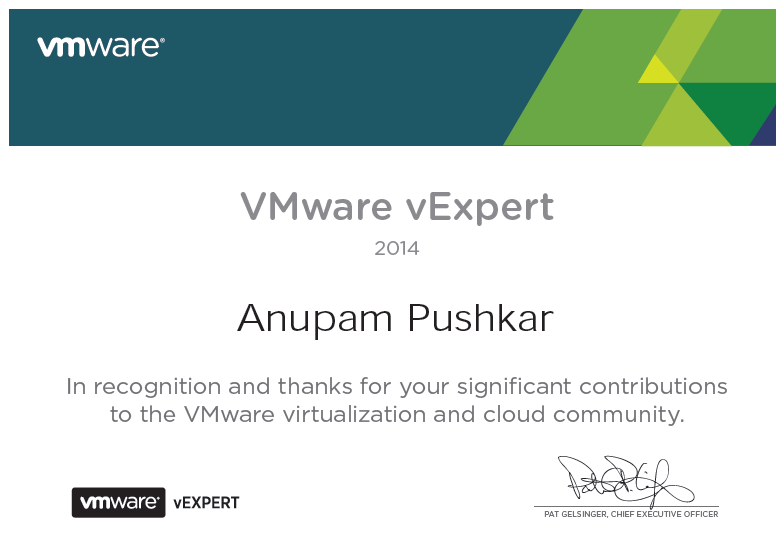 vExpert certificate